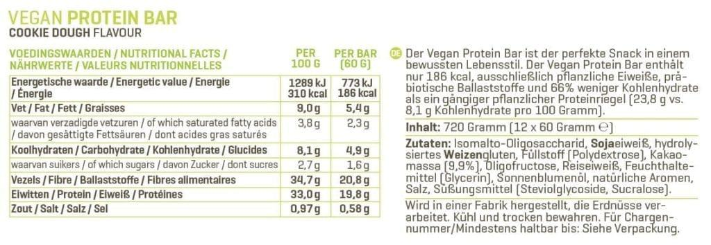 Body & Fit Vegan Protein Bar Test der Nährwerte